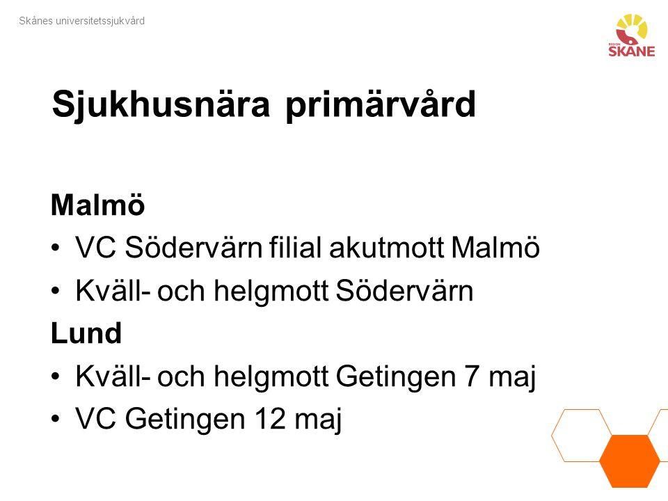 Skånes universitetssjukvård Sjukhusnära primärvård Malmö VC Södervärn filial akutmott Malmö Kväll- och helgmott Södervärn Lund Kväll- och helgmott Get