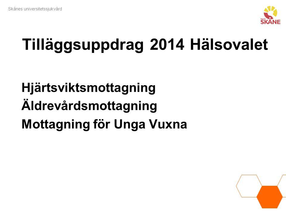 Skånes universitetssjukvård Tilläggsuppdrag 2014 Hälsovalet Hjärtsviktsmottagning Äldrevårdsmottagning Mottagning för Unga Vuxna