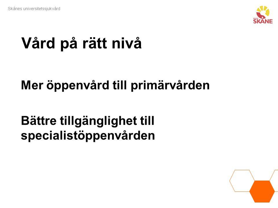 Skånes universitetssjukvård Vård på rätt nivå Mer öppenvård till primärvården Bättre tillgänglighet till specialistöppenvården