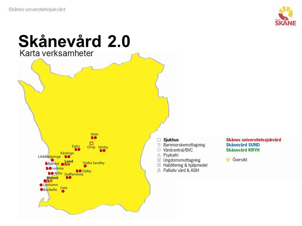 Skånevård 2.0 Karta verksamheter