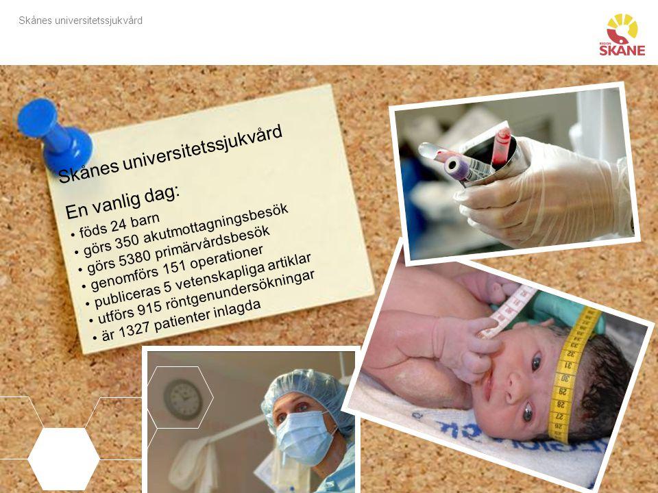 Skånes universitetssjukvård Skånes universitetssjukvård En vanlig dag: föds 24 barn görs 350 akutmottagningsbesök görs 5380 primärvårdsbesök genomförs