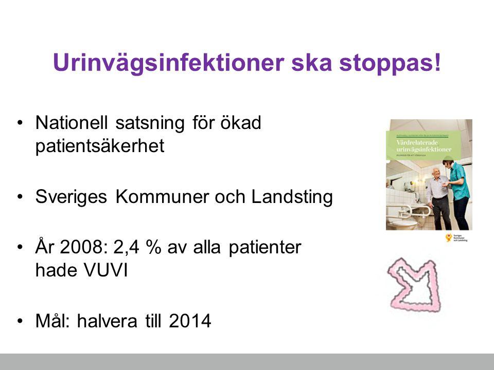 Urinvägsinfektioner ska stoppas! Nationell satsning för ökad patientsäkerhet Sveriges Kommuner och Landsting År 2008: 2,4 % av alla patienter hade VUV