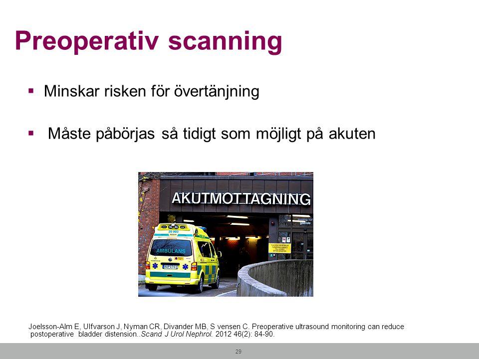 29 Preoperativ scanning  Minskar risken för övertänjning  Måste påbörjas så tidigt som möjligt på akuten Joelsson-Alm E, Ulfvarson J, Nyman CR, Diva