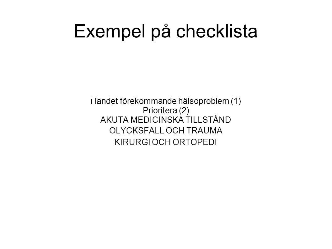 Exempel på checklista i landet förekommande hälsoproblem (1) Prioritera (2) AKUTA MEDICINSKA TILLSTÅND OLYCKSFALL OCH TRAUMA KIRURGI OCH ORTOPEDI