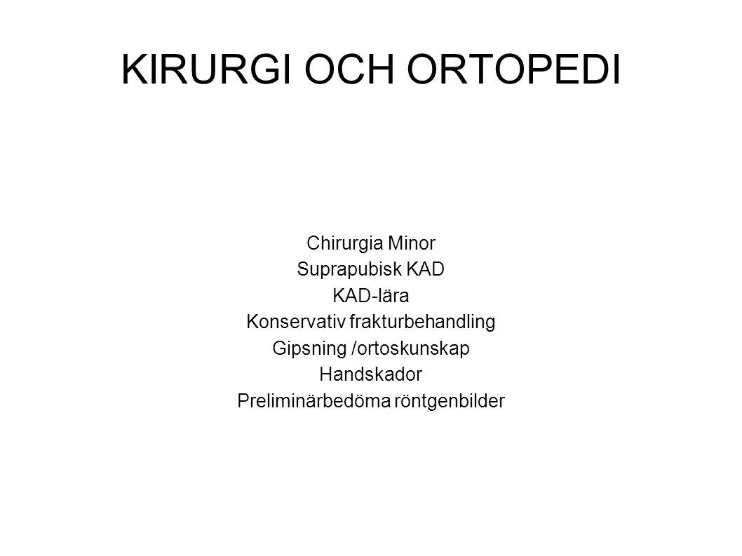 KIRURGI OCH ORTOPEDI Chirurgia Minor Suprapubisk KAD KAD-lära Konservativ frakturbehandling Gipsning /ortoskunskap Handskador Preliminärbedöma röntgen