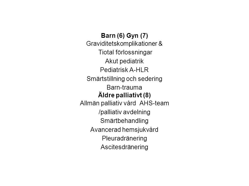 Barn (6) Gyn (7) Graviditetskomplikationer & Tiotal förlossningar Akut pediatrik Pediatrisk A-HLR Smärtstillning och sedering Barn-trauma Äldre pallia