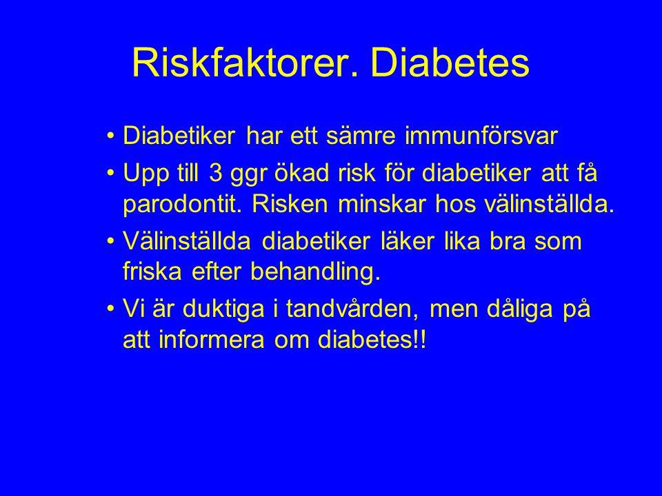 Riskfaktorer. Diabetes Diabetiker har ett sämre immunförsvar Upp till 3 ggr ökad risk för diabetiker att få parodontit. Risken minskar hos välinställd