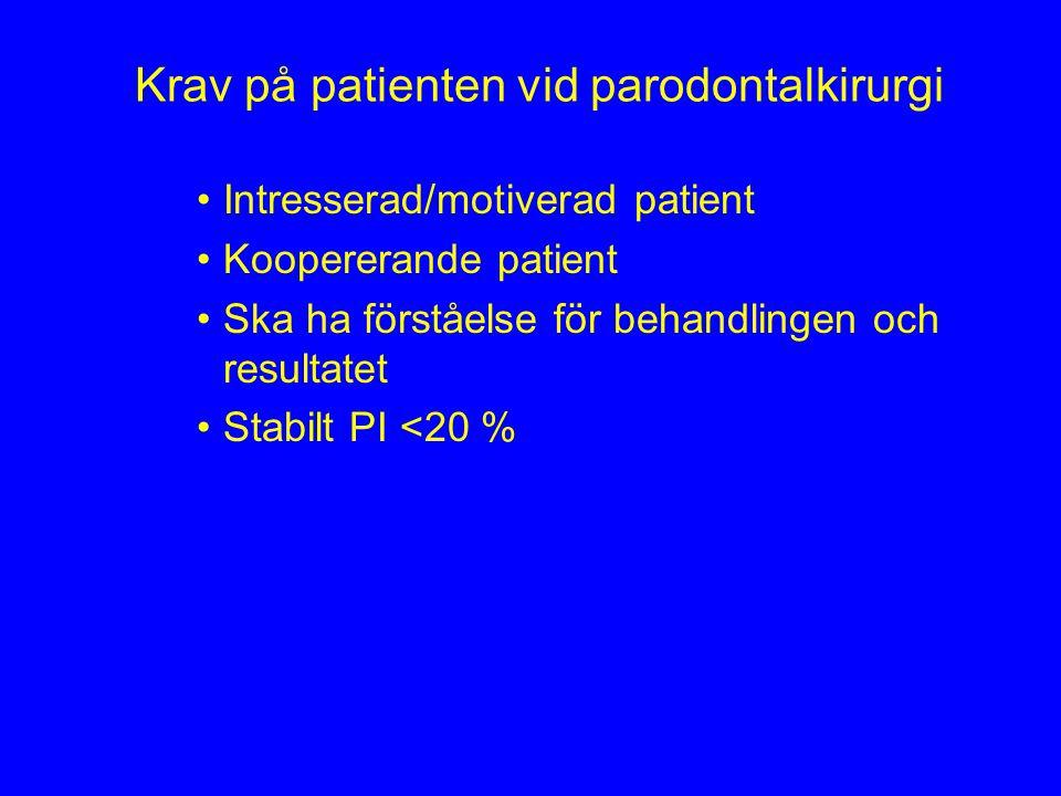 Krav på patienten vid parodontalkirurgi Intresserad/motiverad patient Koopererande patient Ska ha förståelse för behandlingen och resultatet Stabilt P