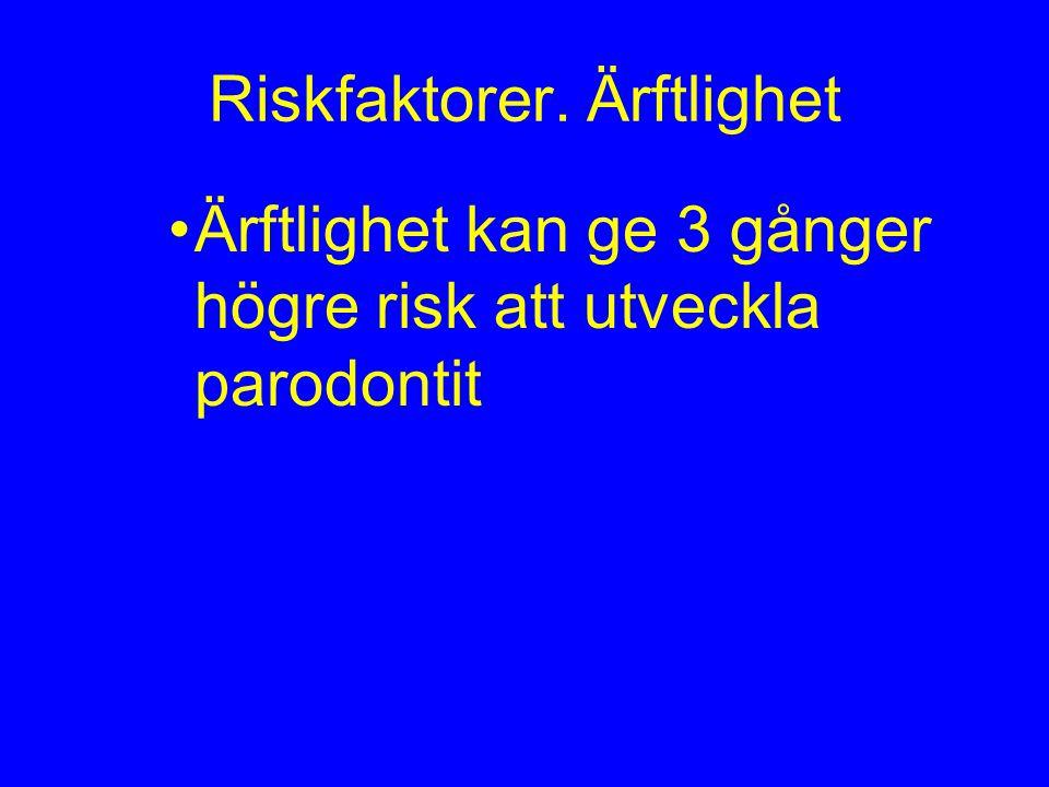 Riskfaktorer. Ärftlighet Ärftlighet kan ge 3 gånger högre risk att utveckla parodontit