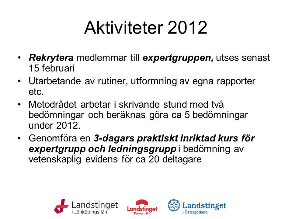 Aktiviteter 2012 Rekrytera medlemmar till expertgruppen, utses senast 15 februari Utarbetande av rutiner, utformning av egna rapporter etc.