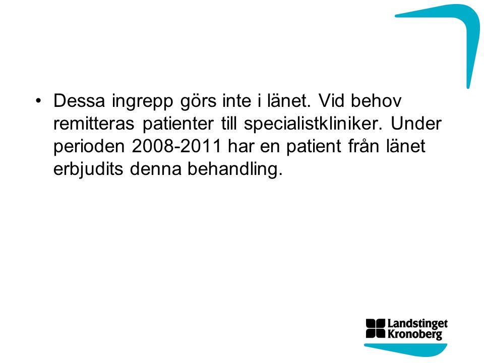 Dessa ingrepp görs inte i länet. Vid behov remitteras patienter till specialistkliniker. Under perioden 2008-2011 har en patient från länet erbjudits