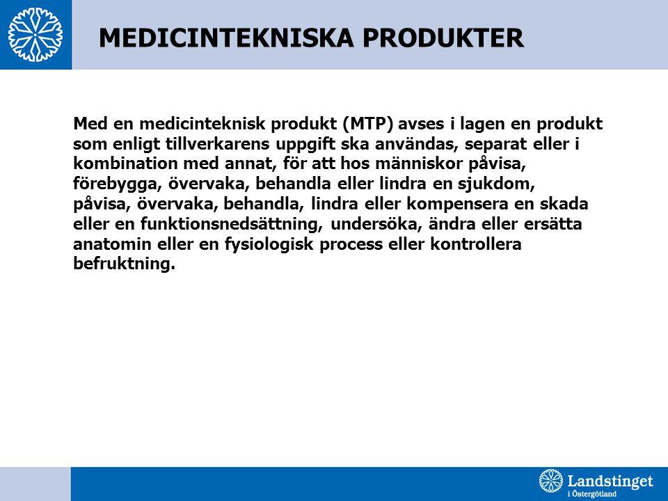 Med en medicinteknisk produkt (MTP) avses i lagen en produkt som enligt tillverkarens uppgift ska användas, separat eller i kombination med annat, för