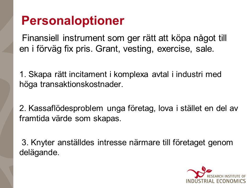 Personaloptioner Finansiell instrument som ger rätt att köpa något till en i förväg fix pris.