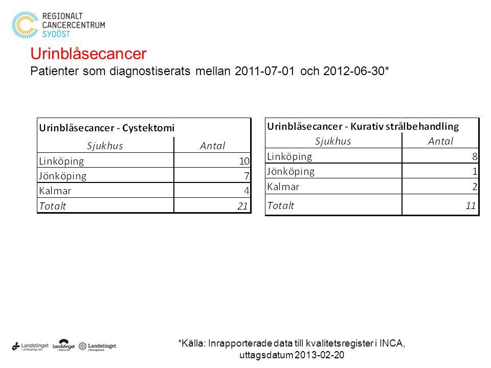 Urinblåsecancer Patienter som diagnostiserats mellan 2011-07-01 och 2012-06-30* *Källa: Inrapporterade data till kvalitetsregister i INCA, uttagsdatum
