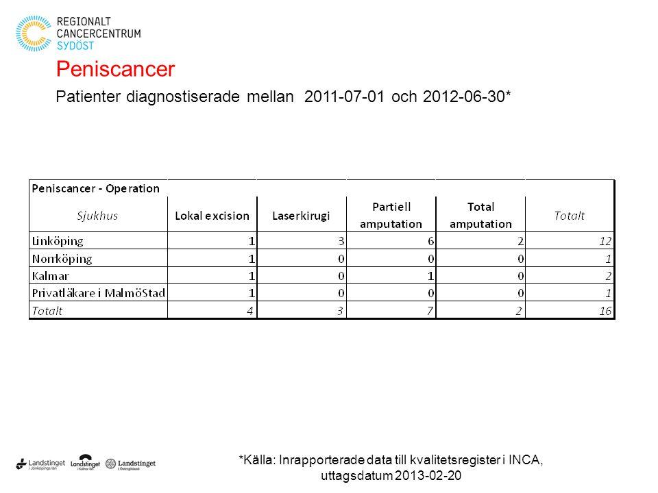 Peniscancer Patienter diagnostiserade mellan 2011-07-01 och 2012-06-30* *Källa: Inrapporterade data till kvalitetsregister i INCA, uttagsdatum 2013-02