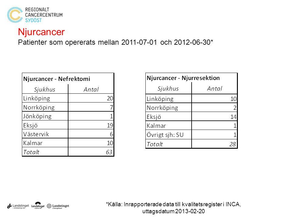 Njurcancer Patienter som opererats mellan 2011-07-01 och 2012-06-30* *Källa: Inrapporterade data till kvalitetsregister i INCA, uttagsdatum 2013-02-20