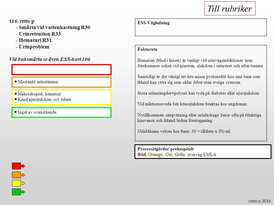 Misstänkt urinstämma  Makroskopisk hematuri  Känd njursjukdom och ödem  Inget av ovanstående 116. retts-p - Smärta vid vattenkastning R30 - Urinr
