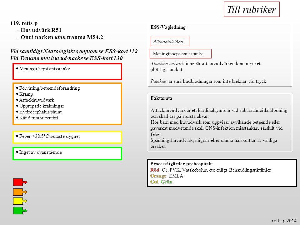  Förvirring/beteendeförändring  Kramp  Attackhuvudvärk  Upprepade kräkningar  Hydrocephalus/shunt  Känd tumor cerebri  Feber >38.5  C senaste