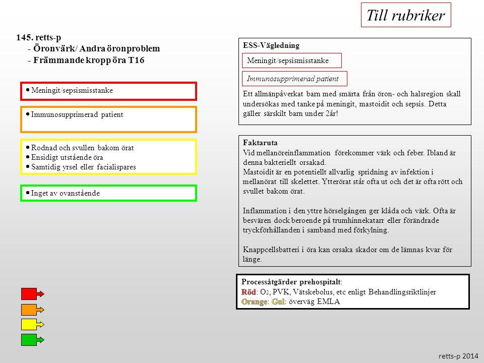  Immunosupprimerad patient  Rodnad och svullen bakom örat  Ensidigt utstående öra  Samtidig yrsel eller facialispares  Inget av ovanstående 145.