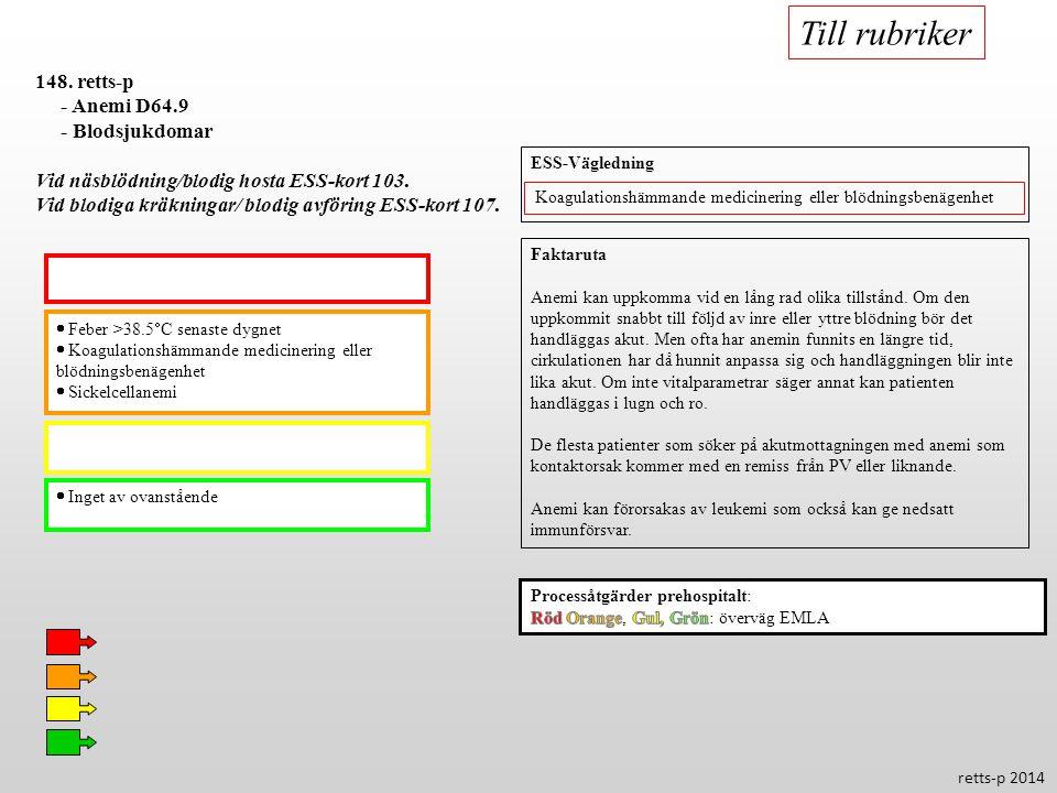  Feber >38.5  C senaste dygnet  Koagulationshämmande medicinering eller blödningsbenägenhet  Sickelcellanemi  Inget av ovanstående 148. retts-p -