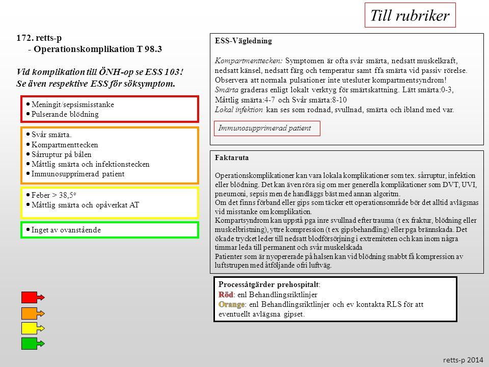  Svår smärta.  Kompartmenttecken  Sårruptur på bålen  Måttlig smärta och infektionstecken  Immunosupprimerad patient  Feber > 38,5 o  Måttlig s