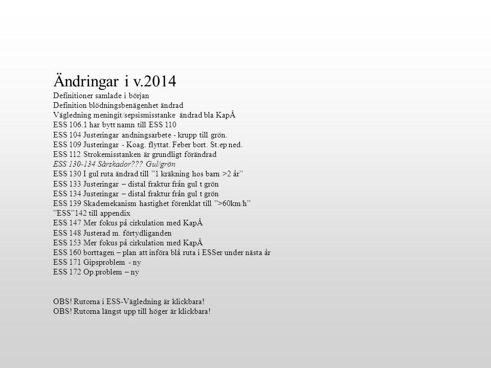 Ändringar i v.2014 Definitioner samlade i början Definition blödningsbenägenhet ändrad Vägledning meningit/sepsismisstanke ändrad bla KapÅ ESS 106.1 h