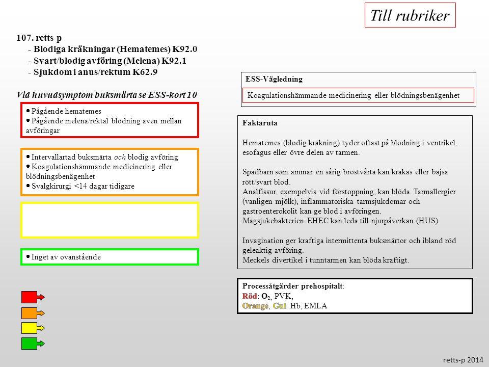  Intervallartad buksmärta och blodig avföring  Koagulationshämmande medicinering eller blödningsbenägenhet  Svalgkirurgi <14 dagar tidigare  Inget