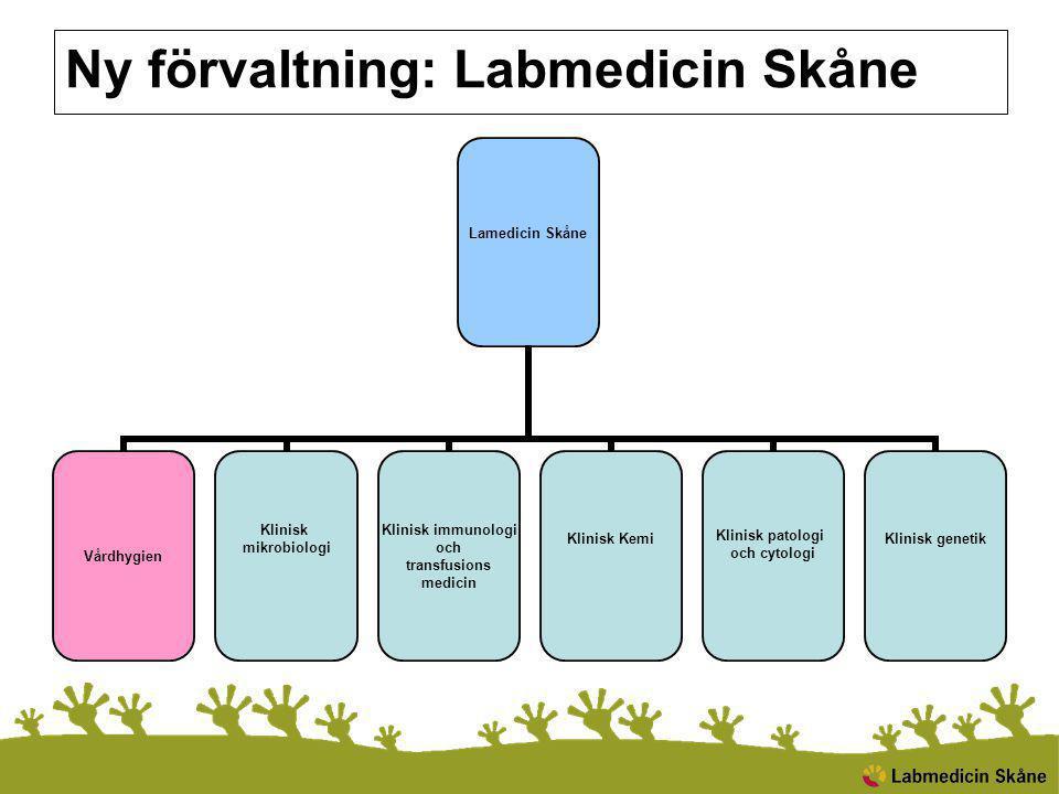 Ny förvaltning: Labmedicin Skåne Lamedicin Skåne Vårdhygien Klinisk mikrobiologi Klinisk immunologi och transfusions medicin Klinisk Kemi Klinisk patologi och cytologi Klinisk genetik