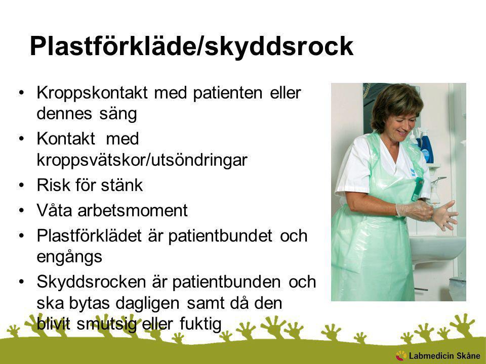 Plastförkläde/skyddsrock Kroppskontakt med patienten eller dennes säng Kontakt med kroppsvätskor/utsöndringar Risk för stänk Våta arbetsmoment Plastfö