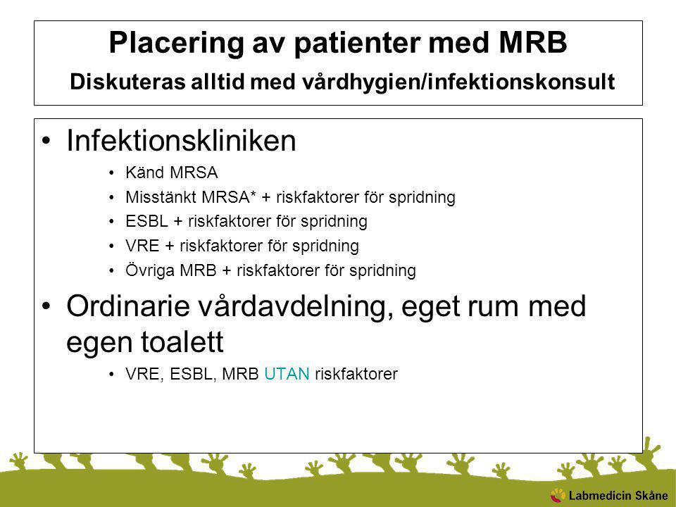 Placering av patienter med MRB Diskuteras alltid med vårdhygien/infektionskonsult Infektionskliniken Känd MRSA Misstänkt MRSA* + riskfaktorer för spri