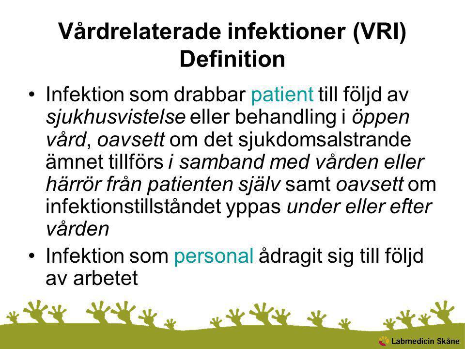 Infektion som drabbar patient till följd av sjukhusvistelse eller behandling i öppen vård, oavsett om det sjukdomsalstrande ämnet tillförs i samband med vården eller härrör från patienten själv samt oavsett om infektionstillståndet yppas under eller efter vården Infektion som personal ådragit sig till följd av arbetet Vårdrelaterade infektioner (VRI) Definition