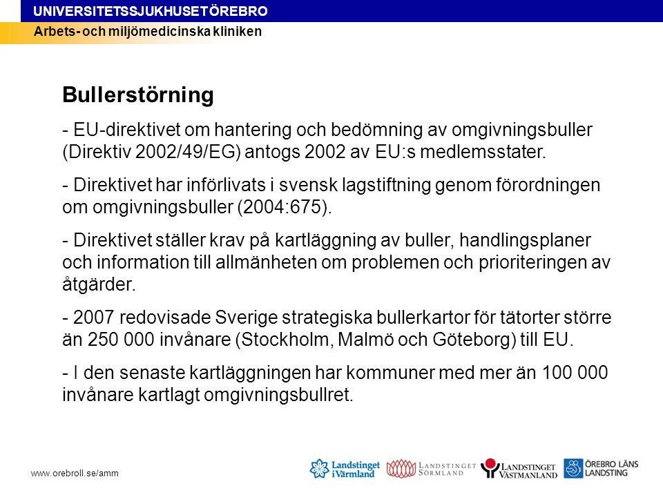 UNIVERSITETSSJUKHUSET ÖREBRO www.orebroll.se/amm Arbets- och miljömedicinska kliniken Bullerstörning - EU-direktivet om hantering och bedömning av omgivningsbuller (Direktiv 2002/49/EG) antogs 2002 av EU:s medlemsstater.