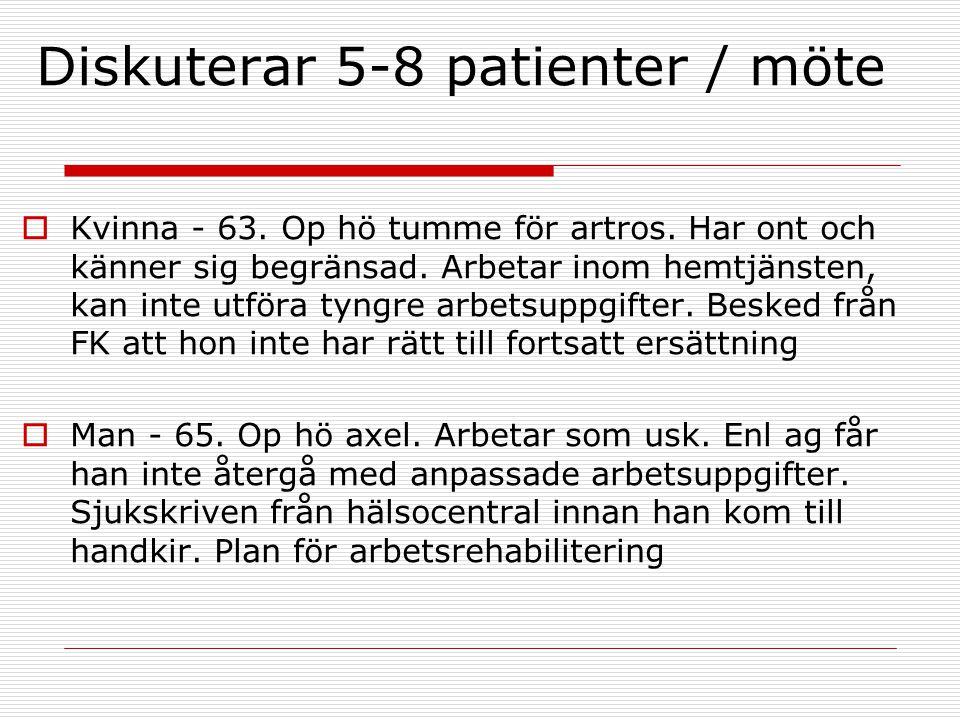 Diskuterar 5-8 patienter / möte  Kvinna - 63. Op hö tumme för artros. Har ont och känner sig begränsad. Arbetar inom hemtjänsten, kan inte utföra tyn