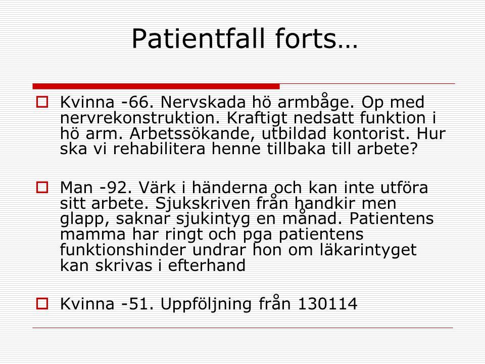 Patientfall forts…  Kvinna -66. Nervskada hö armbåge. Op med nervrekonstruktion. Kraftigt nedsatt funktion i hö arm. Arbetssökande, utbildad kontoris