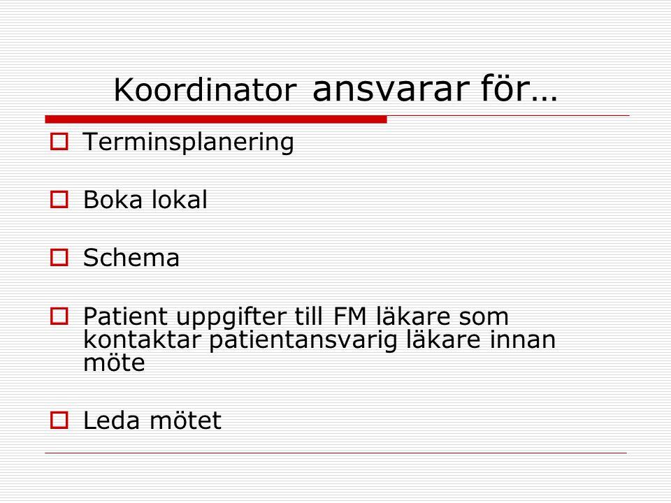 Koordinator ansvarar för…  Terminsplanering  Boka lokal  Schema  Patient uppgifter till FM läkare som kontaktar patientansvarig läkare innan möte