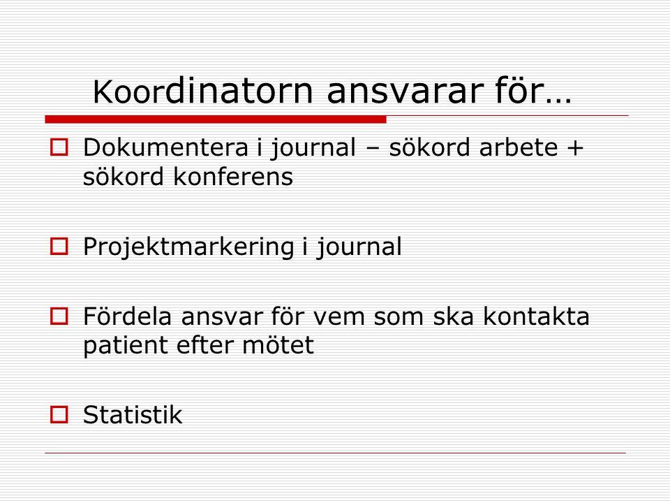 Koor dinatorn ansvarar för…  Dokumentera i journal – sökord arbete + sökord konferens  Projektmarkering i journal  Fördela ansvar för vem som ska k