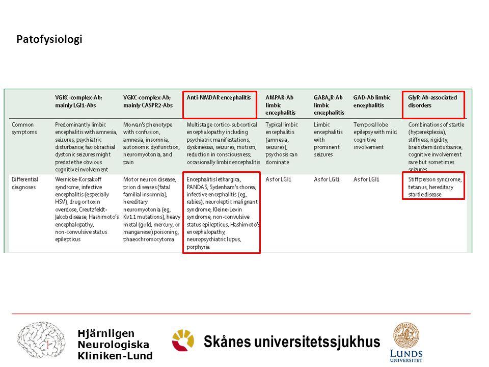 Hjärnligen Neurologiska Kliniken-Lund Skånes universitetssjukhus Patofysiologi