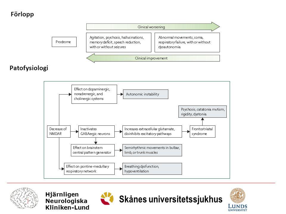 Hjärnligen Neurologiska Kliniken-Lund Skånes universitetssjukhus Förlopp Patofysiologi