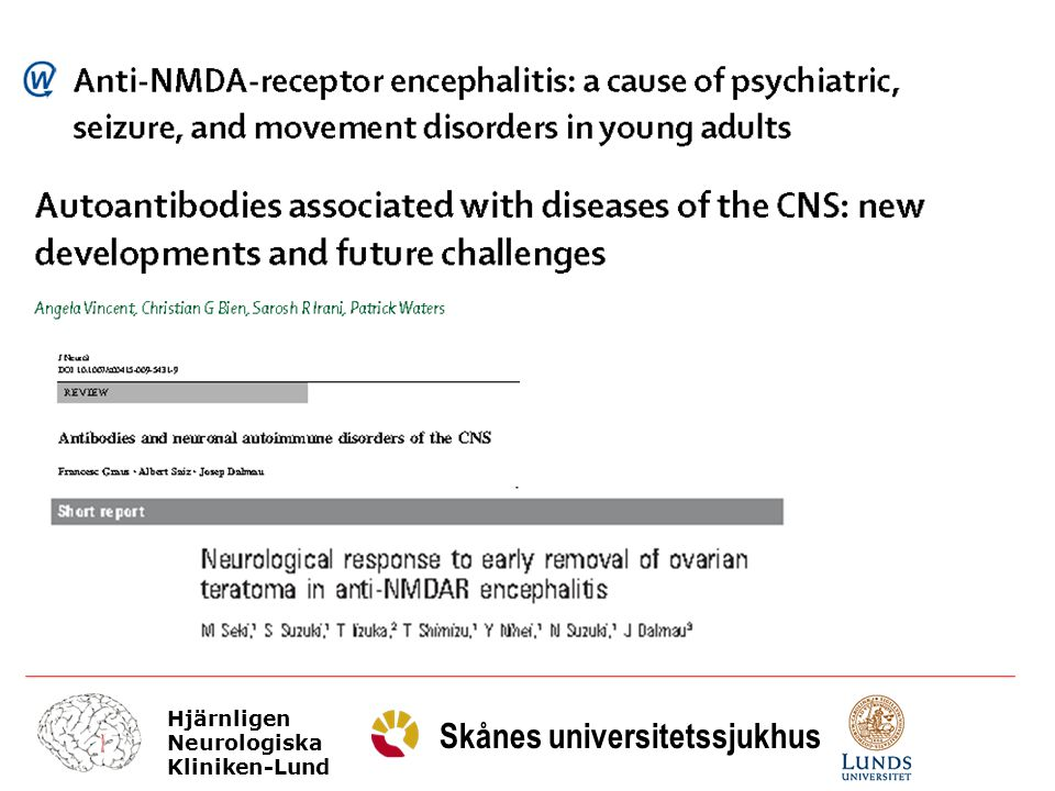 Hjärnligen Neurologiska Kliniken-Lund Skånes universitetssjukhus Patofysiologi antibodies with proven pathogenic potential bind to antigens that are involved in neurotransmission, such as receptors, ion channels or associated proteins