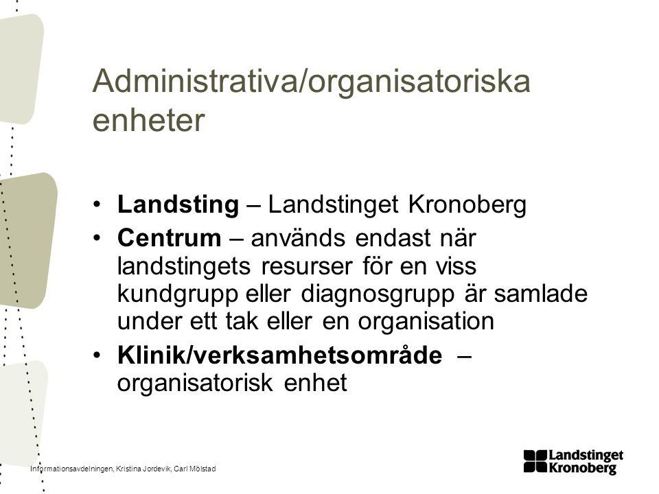 Informationsavdelningen, Kristina Jordevik, Carl Mölstad Administrativa/organisatoriska enheter Landsting – Landstinget Kronoberg Centrum – används en