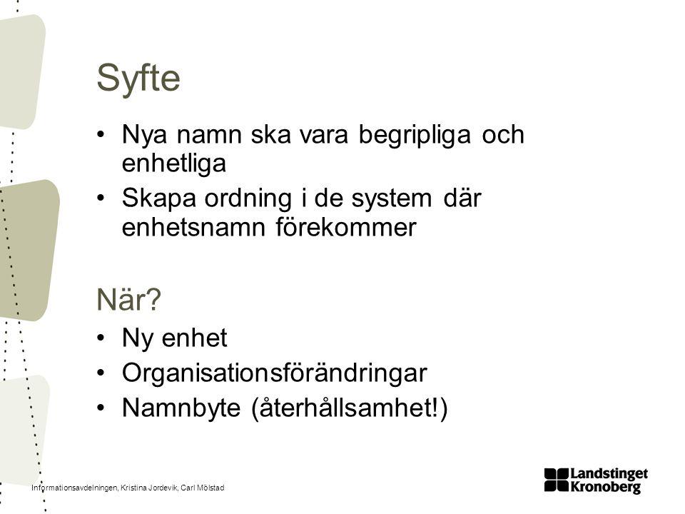 Informationsavdelningen, Kristina Jordevik, Carl Mölstad Syfte Nya namn ska vara begripliga och enhetliga Skapa ordning i de system där enhetsnamn för