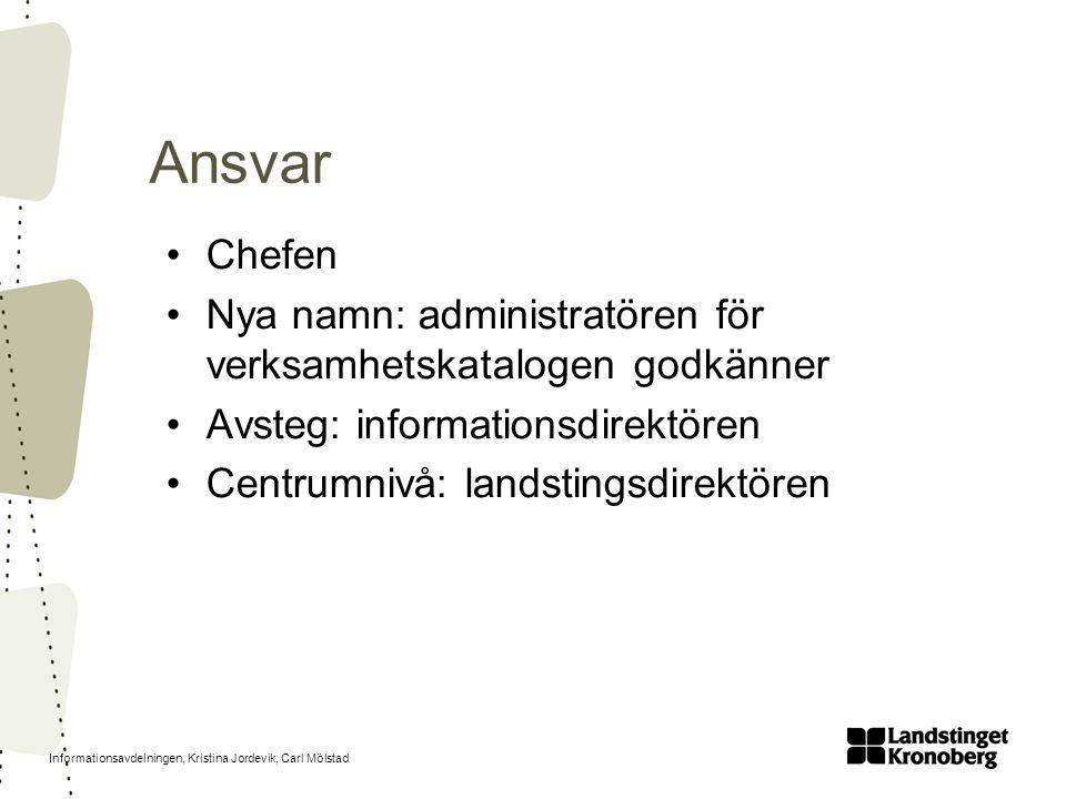 Informationsavdelningen, Kristina Jordevik, Carl Mölstad Ansvar Chefen Nya namn: administratören för verksamhetskatalogen godkänner Avsteg: informatio