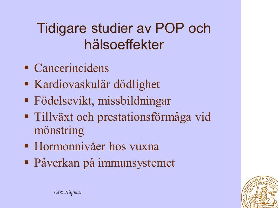 Lars Hagmar Pågående studier av POP och hälsoeffekter  Fruktsamhet  Väntetid till graviditet  Spermiestudier  Benmetabolism  Osteoporos  Frakturer  Tidstrender för exponering