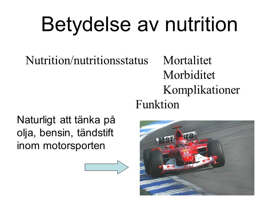 Betydelse av nutrition Nutrition/nutritionsstatusMortalitet Morbiditet Komplikationer Funktion Naturligt att tänka på olja, bensin, tändstift inom mot