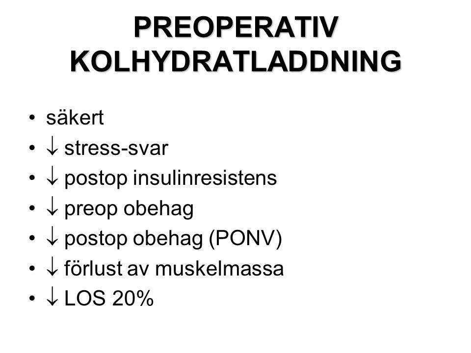 PREOPERATIV KOLHYDRATLADDNING säkert  stress-svar  postop insulinresistens  preop obehag  postop obehag (PONV)  förlust av muskelmassa  LOS 20%