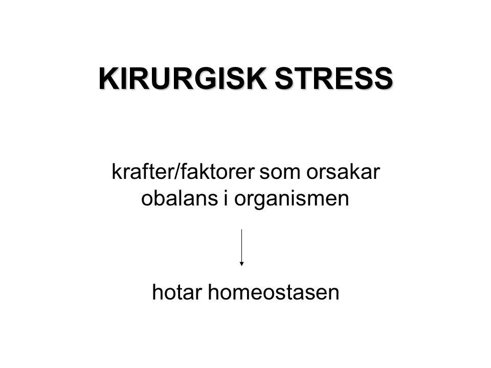 KIRURGISK STRESS krafter/faktorer som orsakar obalans i organismen hotar homeostasen
