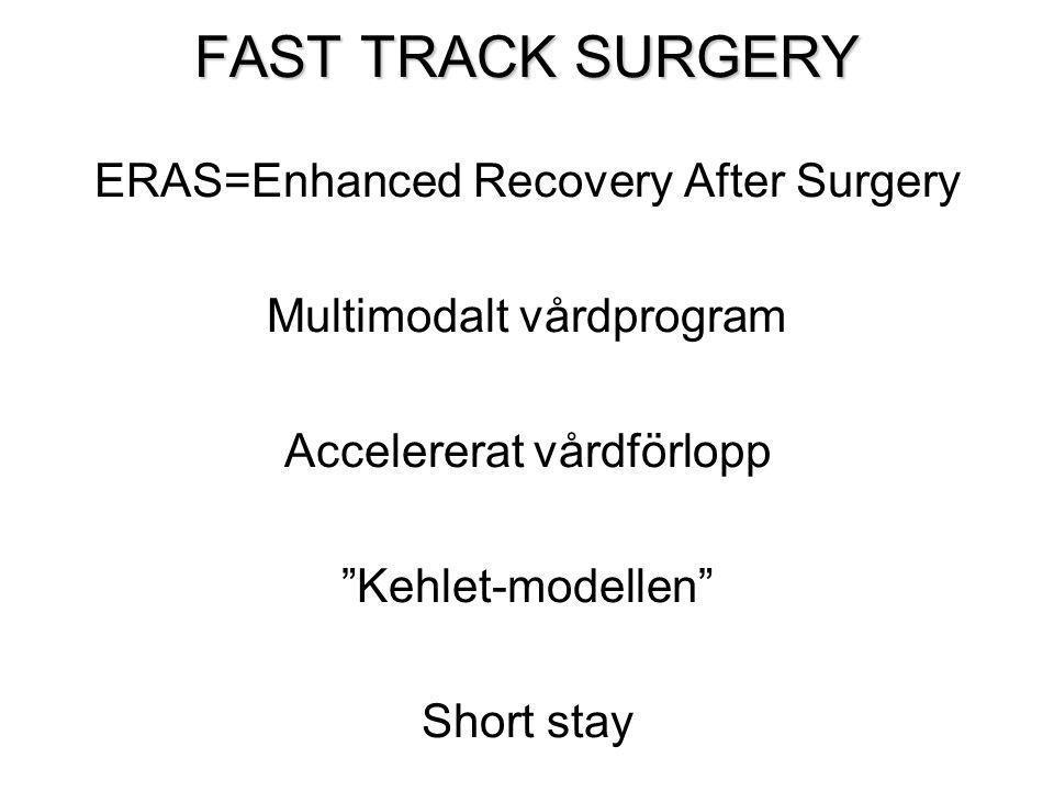 """FAST TRACK SURGERY ERAS=Enhanced Recovery After Surgery Multimodalt vårdprogram Accelererat vårdförlopp """"Kehlet-modellen"""" Short stay"""