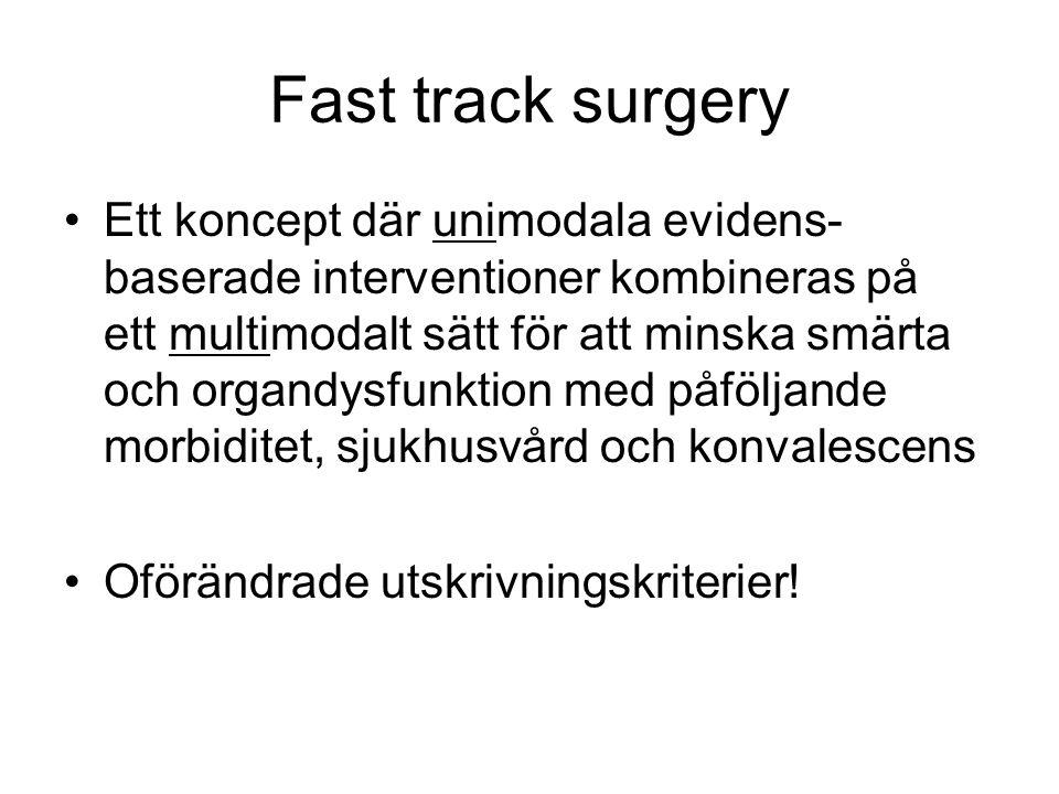 Fast track surgery Ett koncept där unimodala evidens- baserade interventioner kombineras på ett multimodalt sätt för att minska smärta och organdysfun