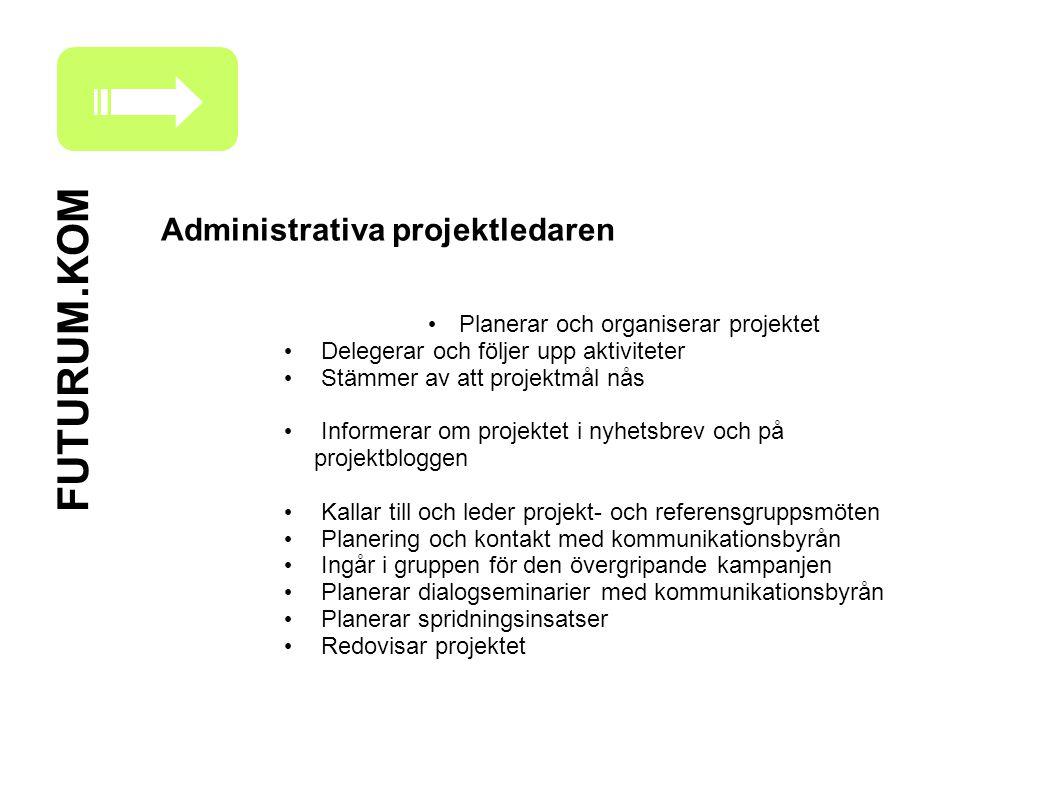 FUTURUM.KOM Administrativa projektledaren Planerar och organiserar projektet Delegerar och följer upp aktiviteter Stämmer av att projektmål nås Inform