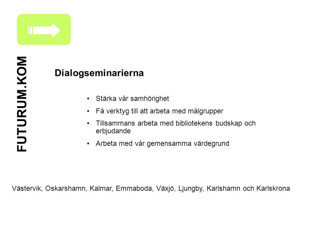 FUTURUM.KOM Dialogseminarierna Stärka vår samhörighet Få verktyg till att arbeta med målgrupper Tillsammans arbeta med bibliotekens budskap och erbjud